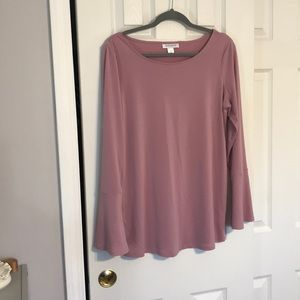 Pink long sleeve maternity blouse